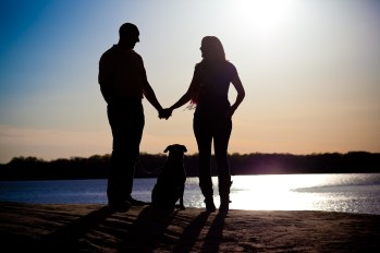 Trish and Zack Kevin and their dog during at engagement session at Quiet Waters Park.