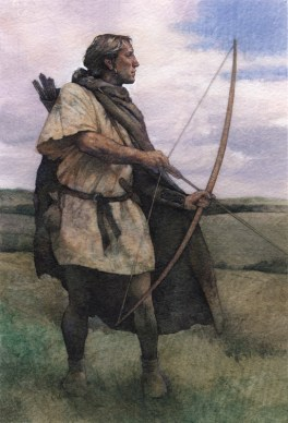 """Amesbury Archer 5""""x8"""" watercolor and gouache on paper For """"Mystery Man of Stonehenge"""", an article in Smithsonian magazine on the discovery of a 4,300 year old skeleton near the monument and the intriguing questions it sparked."""