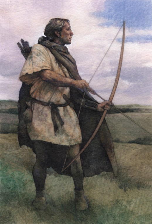 "Amesbury Archer 5""x8"" watercolor and gouache on paper For ""Mystery Man of Stonehenge"", an article in Smithsonian magazine on the discovery of a 4,300 year old skeleton near the monument and the intriguing questions it sparked."