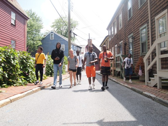 "Allison Zaucha walks up with students in Downtown Annapolis during the ""Coming Up"" Vision Workshop."