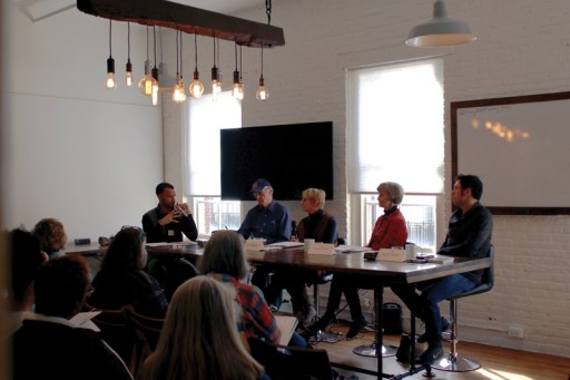 Bill Schmidt, MFA member artist, Cindy McBride, McBride Gallery, and Matt Klos from AACC, make up the panel for an artist workshop_05