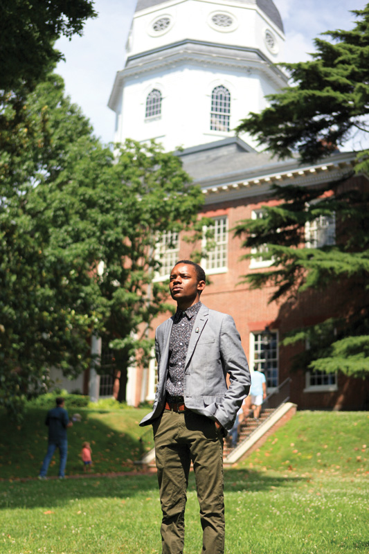 DaJuan Gay on the Maryland State House lawn preparing for the 2017 Annapolis Primary Election. Photo by Sophie Macaluso