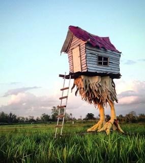 """Baba Yaga Hut"" (2015) 10'l x 6'w x 20'h Mixed reclaimed materials Southern Louisiana"