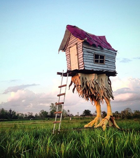 """Baba Yaga Hut"" (2015) 10'l x 6'w x 20'h Mixed reclaimed materials Southern Louisiana"