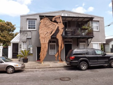 """Demi Ange"" (2014) 12'x20' Blowtorch and flamethrower on plywood, created live on Royal St. in New Orleans, LA"
