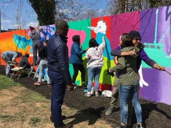 Box of Rain kids collaborate on Eastport Shell station mural with local artist Charles Lawrance and Future History Now's Jeff Huntington and Julia Gibb.