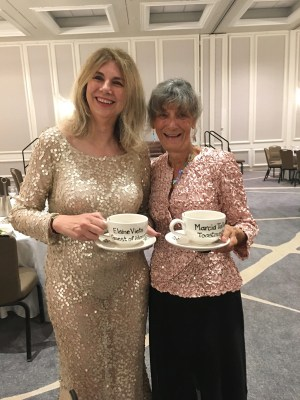 Elaine Viets and Marcia Talley, Guest of Honor and Toastmistress, respectively, and the 2017 Malice Domestic Conference in Washington, DC Photo courtesy of Marcia Talley