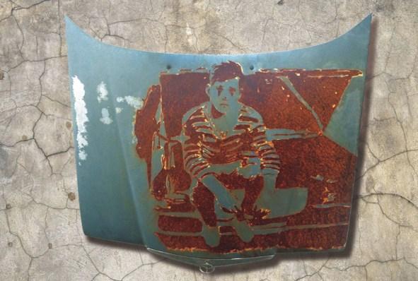 Self Portrait rusted onto hood of '76 Mercedes (2013)_11