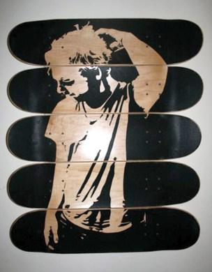 """""""Skerling"""" (2007) griptape on skate decks."""
