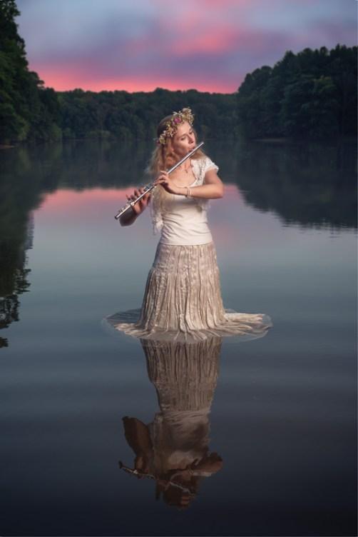 Flutist Naomi Littlefield photographed at Scott's Cove Recreation Area in Laurel, MD