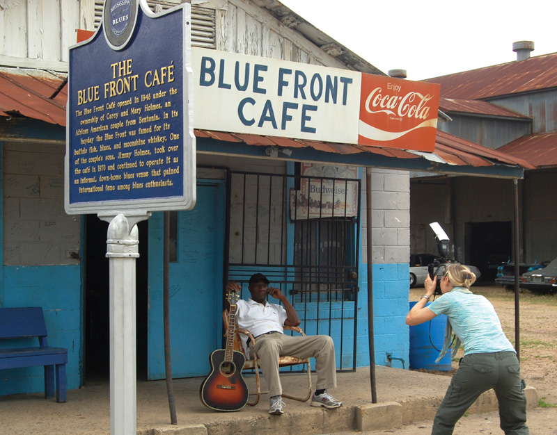 "H.C. Porter photographing Jimmy ""Duck"" Holmes Bentonia, Mississippi."