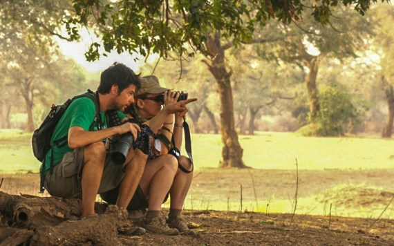 Mike and Nancy spotting on a trip to Zimbabwe.