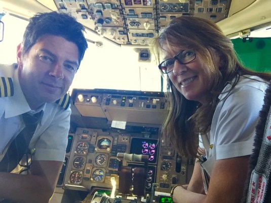 Mike and Nancy flying a Boeing 757 together from Washington Dulles to Madrid (first time flying the same plane together).