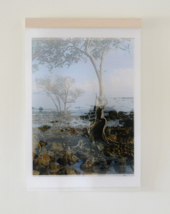 Views From Kho Jum (Thailand), front view - archival inkjet prints on silk organza and cotton rag paper  (meant to be an inset with side view printed larger) Image courtesy of Celia Pearson