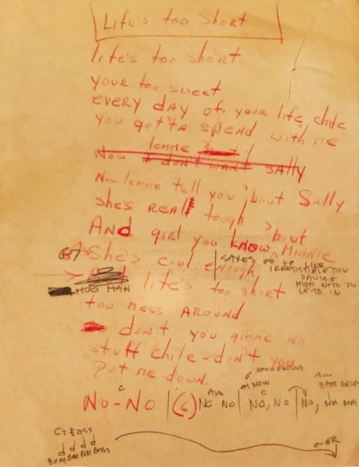 """""""Life's Too Short """"lyrics as written down by Phil Huth of the Lafayettes. Courtesy Photo"""