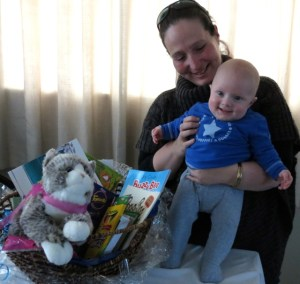Baby Caleb with his prize!