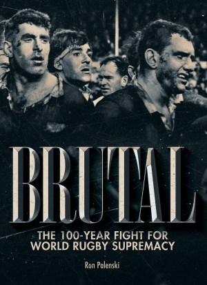 Cover art showing a black and white picture of rugby players covered in mud