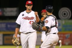 ValleyCats pitcher Tim Hardy (47) celebrates with catcher Cesar Salazar (6) on Thursday. Photo: Robert Dungan/The Upstate Courier