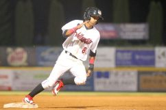 ValleyCats designated hitter Ramiro Rodriguez rounds third base during Thursday night's game. Photo: Robert Dungan/The Upstate Courier
