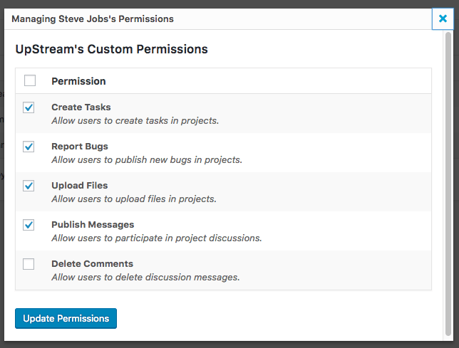Permissions for an UpStream Client User