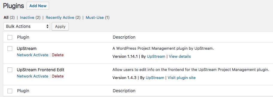 WordPress plugins network deactive