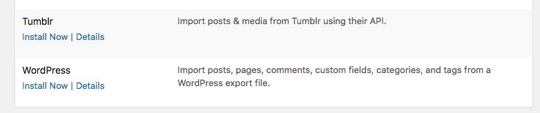 Import from WordPress to WordPress