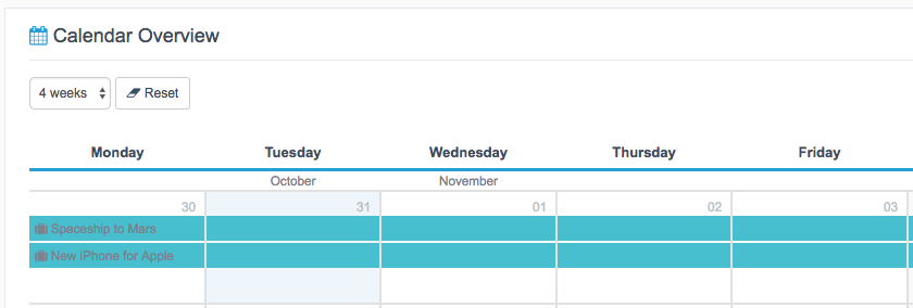 bars view in Calendar View