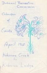 Duhamel Recreation Commission Calendar of Events, April 1968 -Mary Carne files