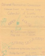 Duhamel Recreation Commission Calendar of Events, April - May 1969 -Mary Carne files
