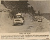 Getting ready for paving new section of Highway 3A at the old Kokanee Lodge site at 2 mile-1960's Nelson Daily News article Mary Carne files    Mary Carne files