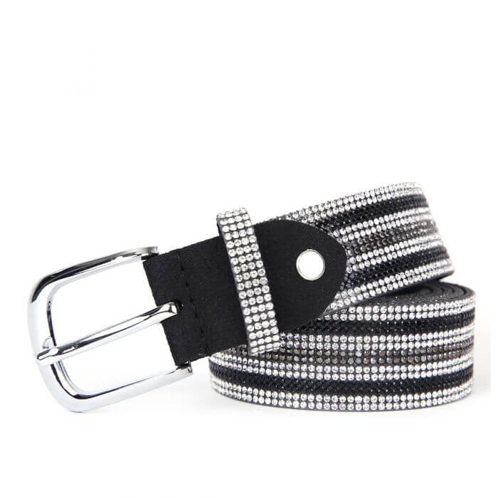 Belt with stripes of black and silver sparkle design