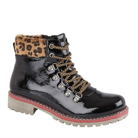 Comfortable black patent lace up ankle boot with leopard print trim around the ankle