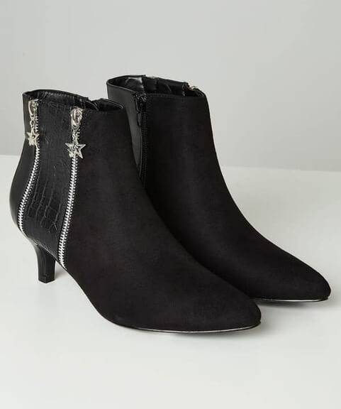 Black pointed toe boots with slender 6cm heel by Joe Browns. Suedette is paired with a snakeskin effect side panel and 2 zips with star shaped charms.