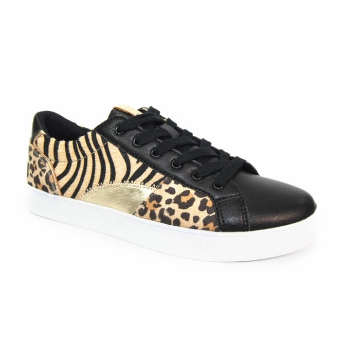 Side angled view of right trainer with animal print detail. Decoration consists of ocelot, tiger and metallic inserts on the upper