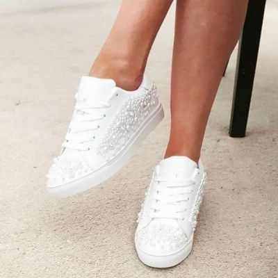 Gorgeous white trainers with decorative pearl and sparkle detail. Ideal for Bridal wear.