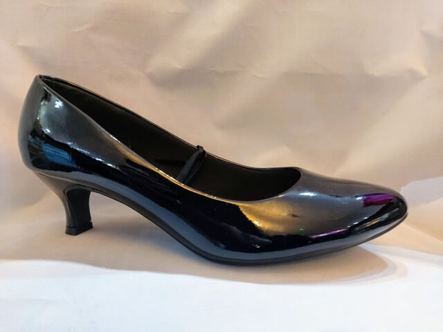Comfort Plus black low heeled court shoe