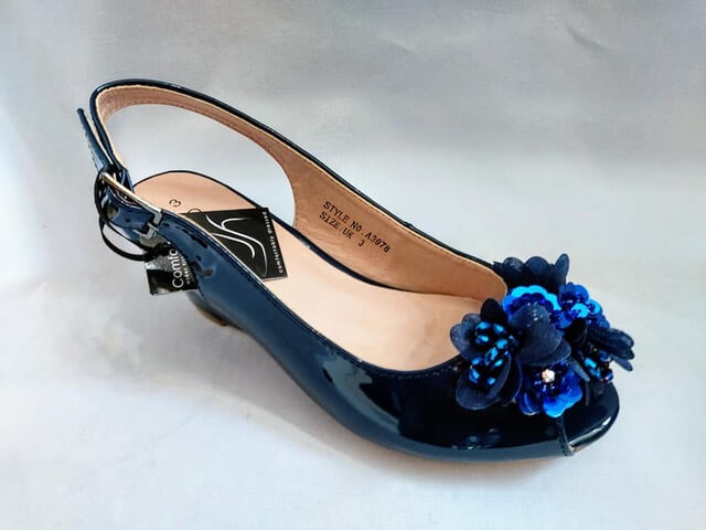 Comfort Plus navy wedge sandal with flower detail to front