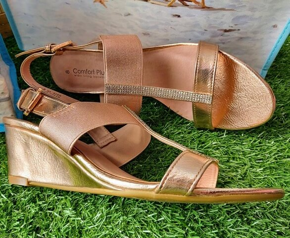 Comfort Plus rose gold wedge sandals