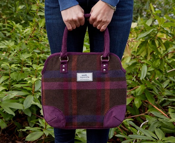 Earth Squared tweed handbag with check mulberry pattern