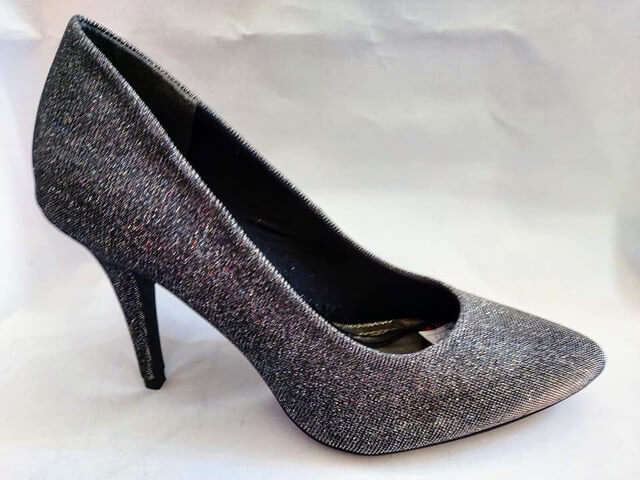 Marco Tozzi high heeled court shoe with pewter sparkle design