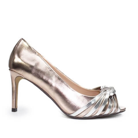Lunar Bryce rose gold and silver contrast peep toe shoe