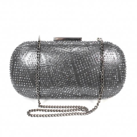Lunar Francie pewter bag shown from front view with chain. The front has a patterned diamante body