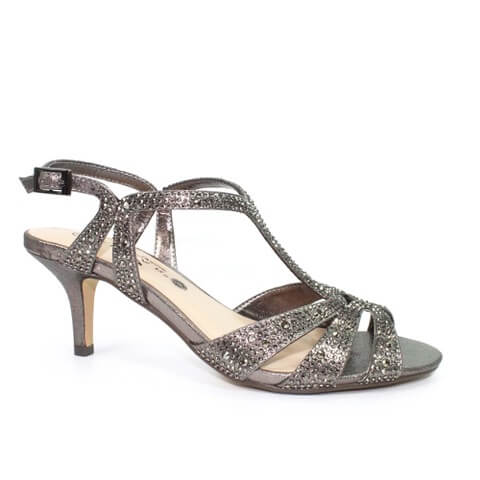 Lunar Francie pewter sandals with gemstone encrusted straps at ankle and across toes