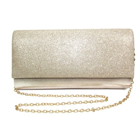 Lunar Joelle gold coloured clutch bag. Finished in metallic leather with glitter effect flap