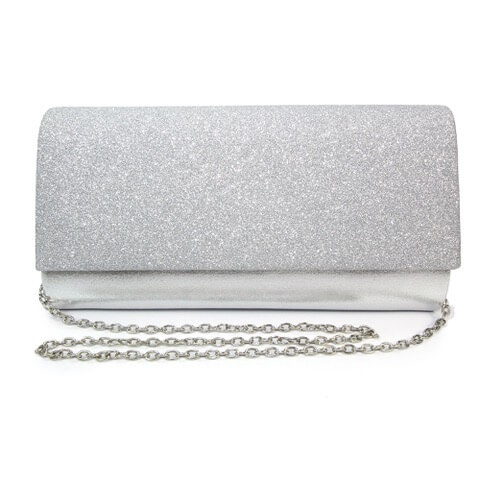Lunar Joelle silver coloured clutch bag. Finished in metallic leather with glitter effect flap