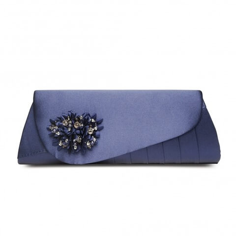 Lunar Sabrina handbag in navy colour. It has a sequined corsage on the flap