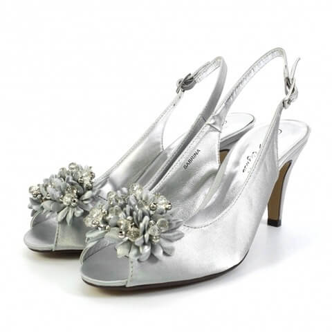 Lunar Sabrina open toed shoes in silver grey colour. They have a sequined corsage at the front