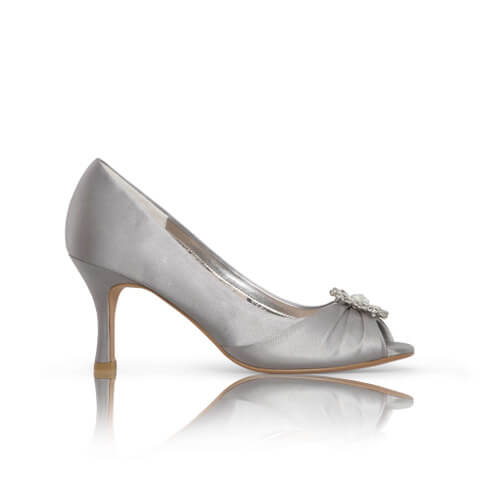 Perfect Bridal satin silver occasion shoe with peep-toe. Has a pleated toe area with a dazzling floral crystal brooch