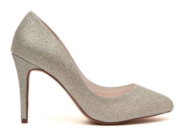 Rainbow Club Erika silver shimmer bridal shoe. These classic court shoes have an almond-shaped toe and an elegant stiletto heel