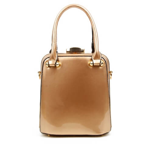 Superbia champagne patent clasp top bag